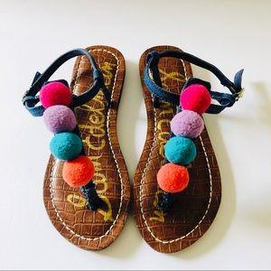 Sam Edelman Pom Pom Denim Sandals NWOT